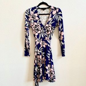 Yumi Kim Blue & Pink Floral Print Wrap Dress Sz S